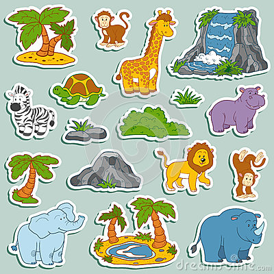 Free Set Of Various Cute Animals, Vector Stickers Of Safari Animals Royalty Free Stock Photography - 51506227