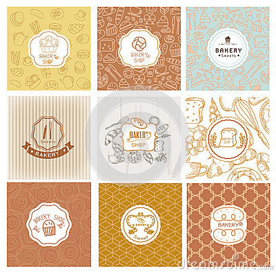 Free Set Of Vector Bakery Logos. Bread And Pastries Labels Stock Image - 67391921