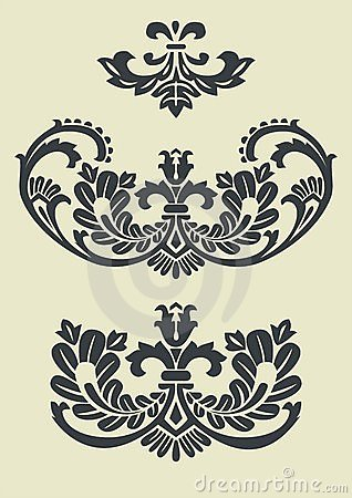 Free Set Of Vector Baroque Patterns For Design Royalty Free Stock Photos - 7708288