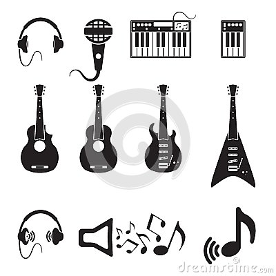 Free Set Of Vector Black Music Icons Royalty Free Stock Photos - 30074808
