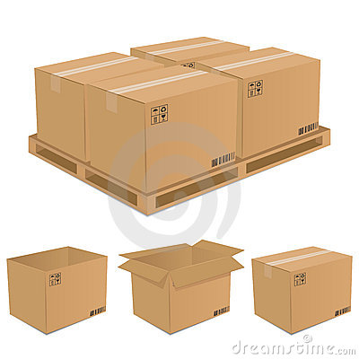 Free Set Of Vector Cardboard Boxes Royalty Free Stock Images - 15414069