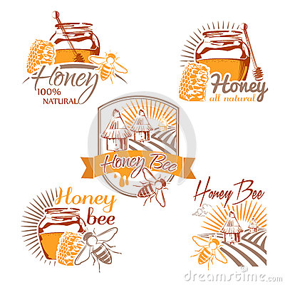Free Set Of Vector Colored Honey Labels, Logos, Badges And Design Ele Royalty Free Stock Images - 59260899
