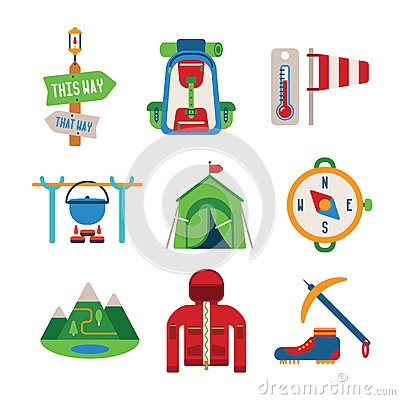 Free Set Of Vector Colorful Hiking Icons In Flat Style Royalty Free Stock Image - 46313946
