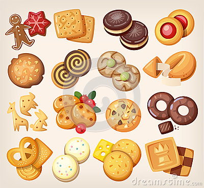 Free Set Of Vector Cookies. Stock Photography - 64276292