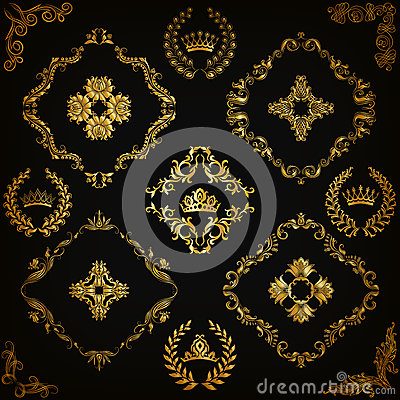 Free Set Of Vector Damask Ornaments. Stock Photography - 67589242