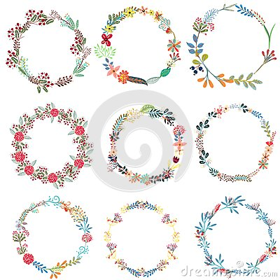 Free Set Of Vector Frames From Wreath Stock Photos - 108025723
