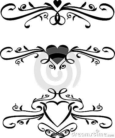 Free Set Of Vector Heart Scrolls Stock Image - 20136631