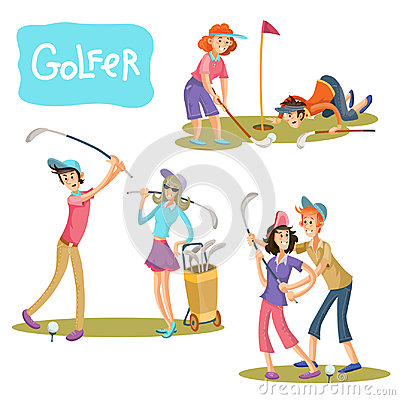 Free Set Of Vector Illustrations Of Golf Games. Stock Image - 97633621