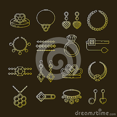Free Set Of Vector Jewelry Line Icons. Diamond Luxury Collection Isolated On Dark. Ring Necklace Earrings Chain Diadem Stock Photography - 87470312