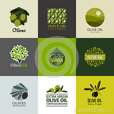 Free Set Of Vector Labels And Emblems With Olive Branch Royalty Free Stock Photos - 40383008