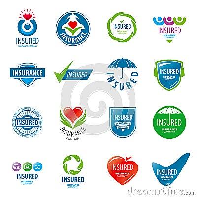 Free Set Of Vector Logos Insurance Royalty Free Stock Photos - 53898948