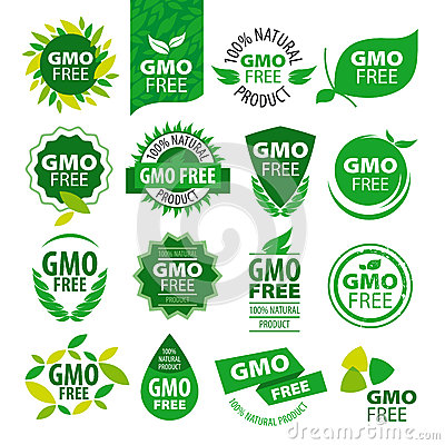 Free Set Of Vector Logos Natural Products Without GMOs Stock Images - 49300054