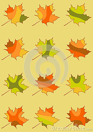 Free Set Of Vector Maple Leaves Isolated, Mosaic Maple Leaf In Red, Yellow, Orange And Green Colors Stock Photos - 43071833