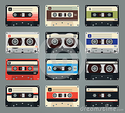 Free Set Of Vector Retro Audio Cassettes Stock Photography - 51778532