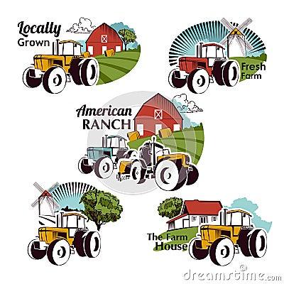 Free Set Of Vector Retro Farm Fresh Emblems Royalty Free Stock Image - 59260256