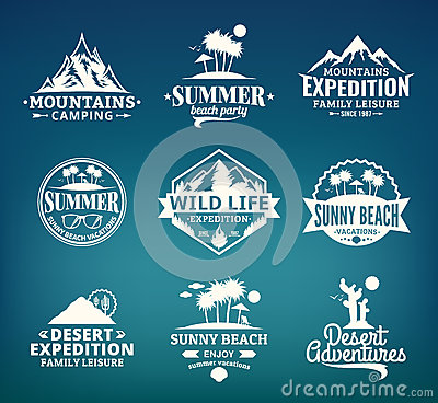 Free Set Of Vector Summer, Mountain And Outdoor Adventures Logo Stock Photography - 68278342