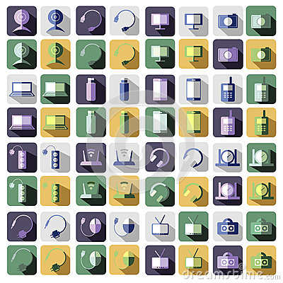 Free Set Of Vector Technology Flat Icons Of PC, Monitor, Headphones, Router, Battery, USB Flash Drive, Web Camera Stock Images - 77038084