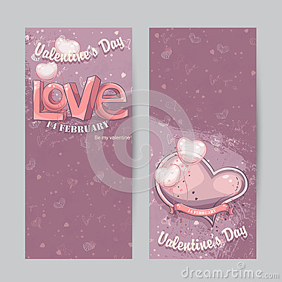 Free Set Of Vertical Cards For Valentine S Day Stock Images - 49159294