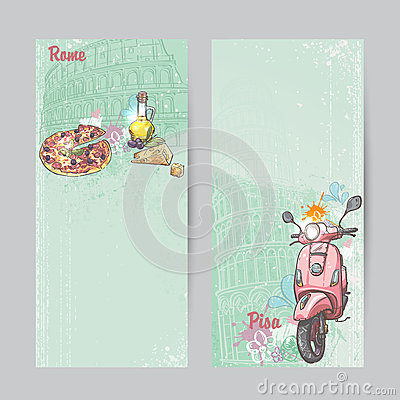 Free Set Of Verticall Banners Of Italy. Cities Of Rome And Pisa With The Image Of A Pink Moped, Pizza, Cheese And Oil Cans Royalty Free Stock Photography - 45788597