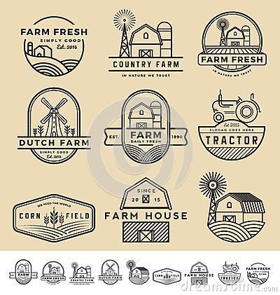Free Set Of Vintage And Modern Farm Badge Logo Royalty Free Stock Images - 64552219