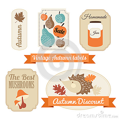 Free Set Of Vintage Autumn Fall Labels, Tags, Stickers, Royalty Free Stock Photos - 44522878