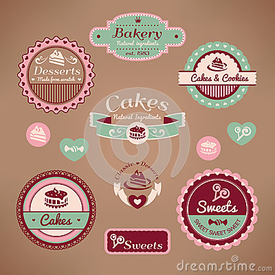 Free Set Of Vintage Bakery Labels Royalty Free Stock Photo - 27311025