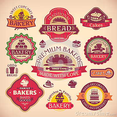 Free Set Of Vintage Bakery Labels Stock Image - 33045641