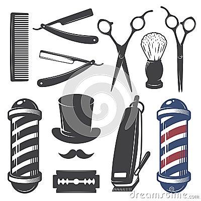 Free Set Of Vintage Barber Shop Elements. Royalty Free Stock Image - 48782926