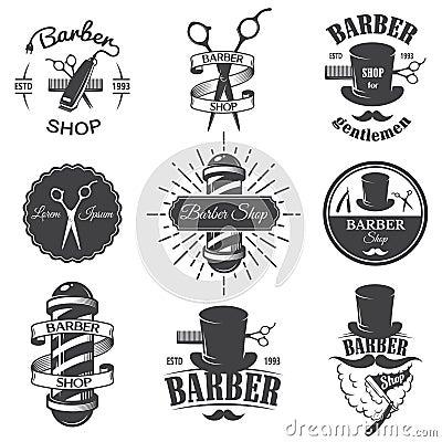 Free Set Of Vintage Barber Shop Emblems Stock Photos - 48782523
