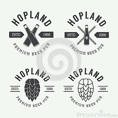 Free Set Of Vintage Beer And Pub Logos, Labels And Emblems With Bottles, Hops, And Wheat Stock Photo - 56959630