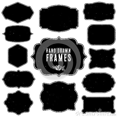 Free Set Of Vintage Blank Frames And Labels. Hand Drawn Vector Stock Photo - 45428570