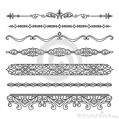 Free Set Of Vintage Borders And Flourishes On White Royalty Free Stock Photography - 109655237