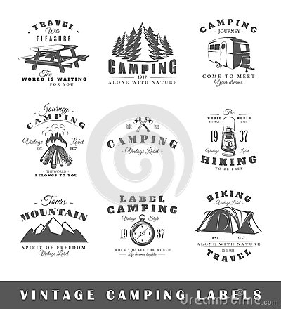 Free Set Of Vintage Camping Labels Royalty Free Stock Photo - 59581035