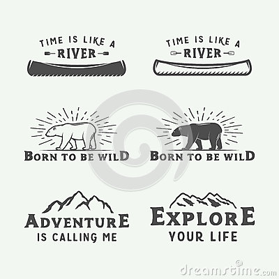 Free Set Of Vintage Camping Outdoor And Adventure Logos, Badges Royalty Free Stock Photos - 83084178