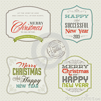 Free Set Of Vintage Christmas And New Year Cards Royalty Free Stock Image - 27940796