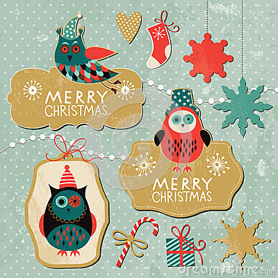 Free Set Of Vintage Christmas And New Year Elements Stock Images - 27705864