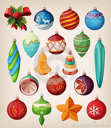 Free Set Of Vintage Christmas Balls. Royalty Free Stock Photos - 27438018