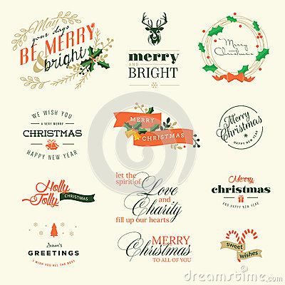 Free Set Of Vintage Elements For Christmas And New Year Greeting Cards Royalty Free Stock Image - 46393556