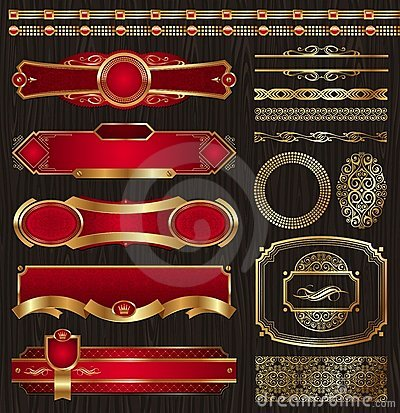 Free Set Of Vintage Framed Golden Labels & Patterns Royalty Free Stock Image - 18638226