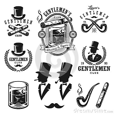 Free Set Of Vintage Gentlemen Emblems And Elements Royalty Free Stock Image - 61999296