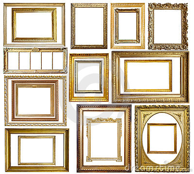 Free Set Of Vintage Gold Picture Frame Royalty Free Stock Photo - 12175645