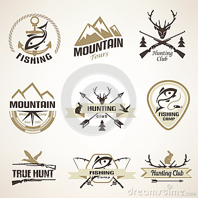 Free Set Of Vintage Hunting And Fishing Emblems Royalty Free Stock Images - 54237469