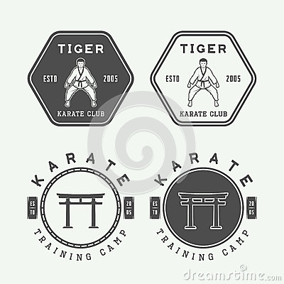 Free Set Of Vintage Karate Or Martial Arts Logo, Emblem, Badge, Label Stock Image - 66285651