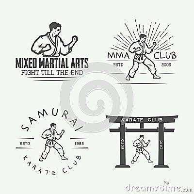 Free Set Of Vintage Karate Or Martial Arts Logo, Emblem, Badge, Label Stock Image - 68145501