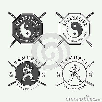 Free Set Of Vintage Karate Or Martial Arts Logo, Emblem, Badge, Label Royalty Free Stock Image - 68145506