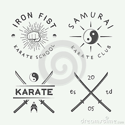 Free Set Of Vintage Karate Or Martial Arts Logo, Emblem, Badge, Label And Design Elements In Retro Style. Royalty Free Stock Photo - 69255005
