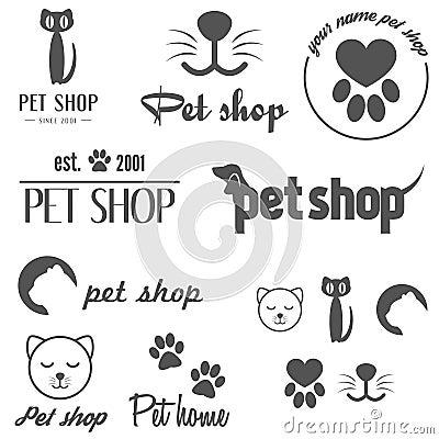 Free Set Of Vintage Logo And Logotype Elements For Pet Royalty Free Stock Image - 50874746
