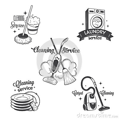 Free Set Of Vintage Logos, Labels And Badges Cleaning Royalty Free Stock Image - 52163126