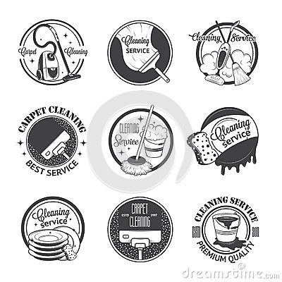 Free Set Of Vintage Logos, Labels And Badges Cleaning Stock Images - 52163224