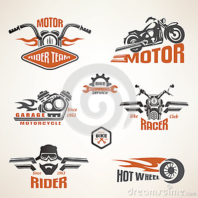 Free Set Of Vintage Motorcycle Labels Royalty Free Stock Photography - 53354327